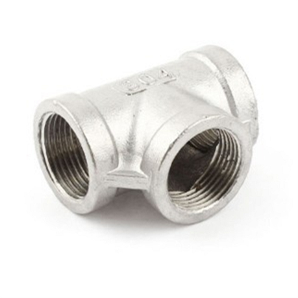 1 Pc 3/4BSPP Female T Shaped 3-Way Stainless Steel Pipe Connector Quick Fitting