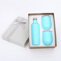 (1set=3pcs)4 Color Wine Growler Stainless Steel Triple Insulated Vacuum Insulated Canteen Beer Mug with Gift Box Accessory