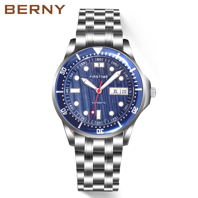 Men Watch Automatic Mechanical Luminous Hands Stainless Steel Case Band Sapphire Coating Homen Relogio Mecanico Automatico