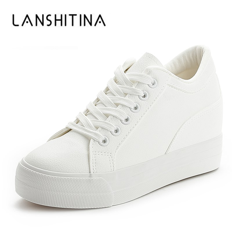 2018 Women Breathable Sneakers Increased Platform Shoes Casual Footwear Leisure Leather White Shoes Women's Vulcanize Shoes