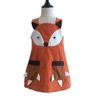 Nette Mädchen Fuchs Kleid Halter Fallen Cord Kleid mit Taschen Orange Halloween Party Kleid