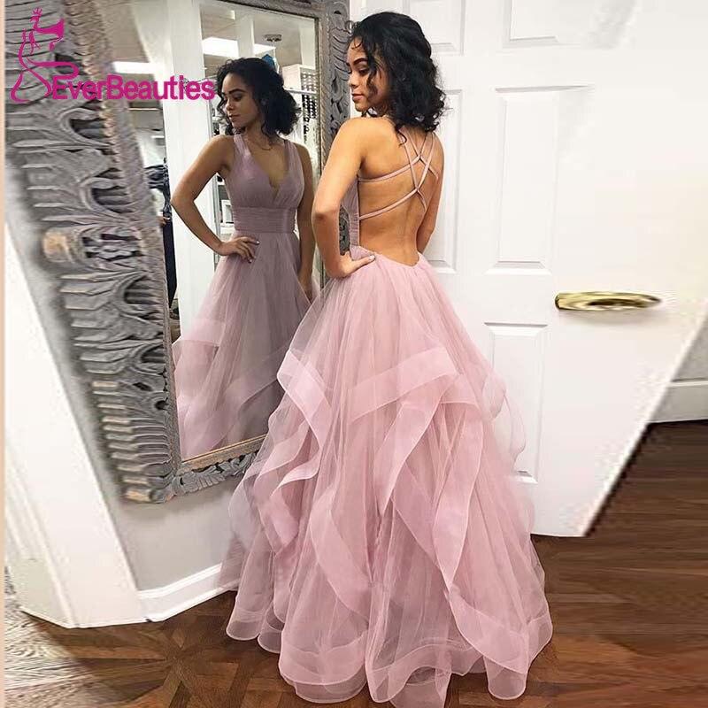 Robe De Soiree   Evening     Dress   Long 2019 Tulle V-Neck Formal   Dress   Women Party   Dresses   Backless   Evening   Gown Abiye Gece Elbisesi
