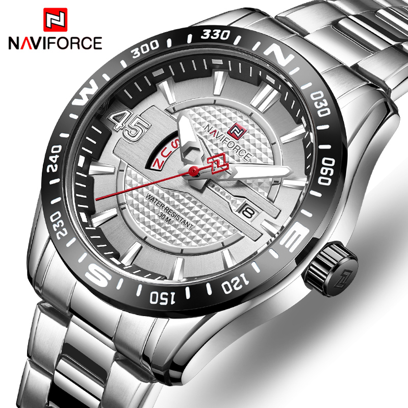 Watches Mens NAVIFORCE Top Luxury Brand Men Fashion Sports Watches Full Steel Quartz Date Clock Man Waterproof Business Watch