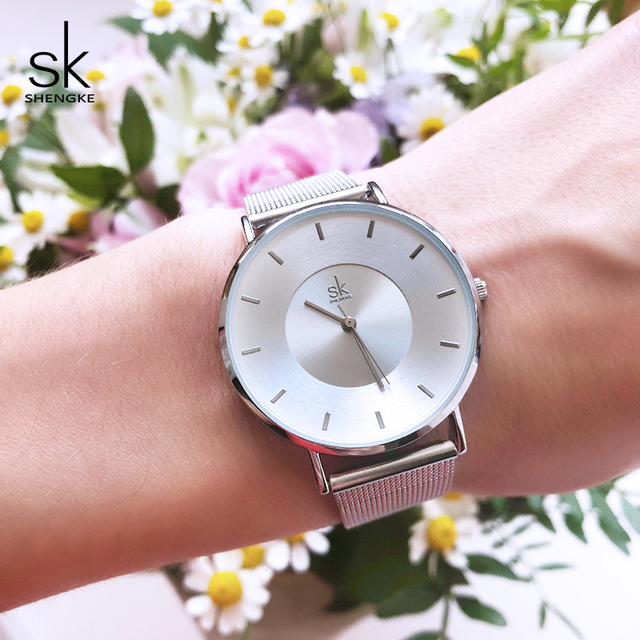 Shengke Ladies Bracelet Watches Luxury Ultra Thin Female Quartz Watch Women's Cl