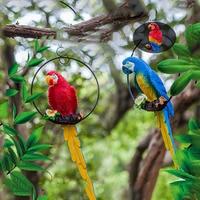 Garden Decoration Simulation Parrot Miniature Sculpture Resin Crafts Fairy Garden Outdoor Flexible Animal Sculpture Wedding prop