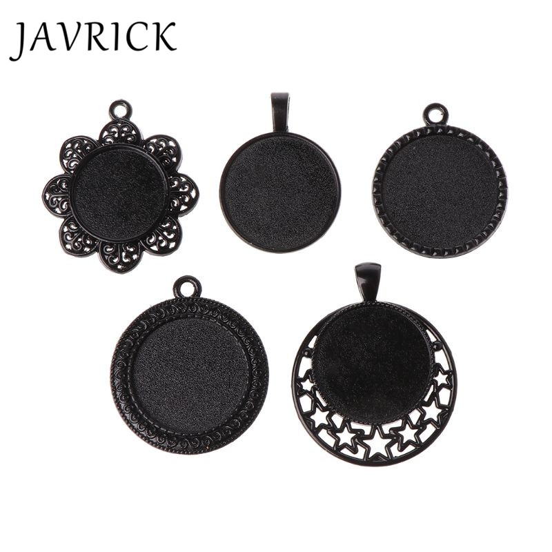 5Pcs Pendant Tray Jewelry Making Accessories DIY Black Style Cameo Cabochon Base in Jewelry Findings Components from Jewelry Accessories
