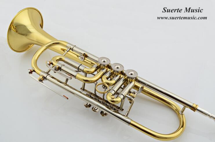 Bb Rotary Trumpet Brass Body Lacquer Finish with Wood case and mouthpiece Musical Instruments professional trompete professional silver nickel rotary valve cornet trumpet new bb horn with case