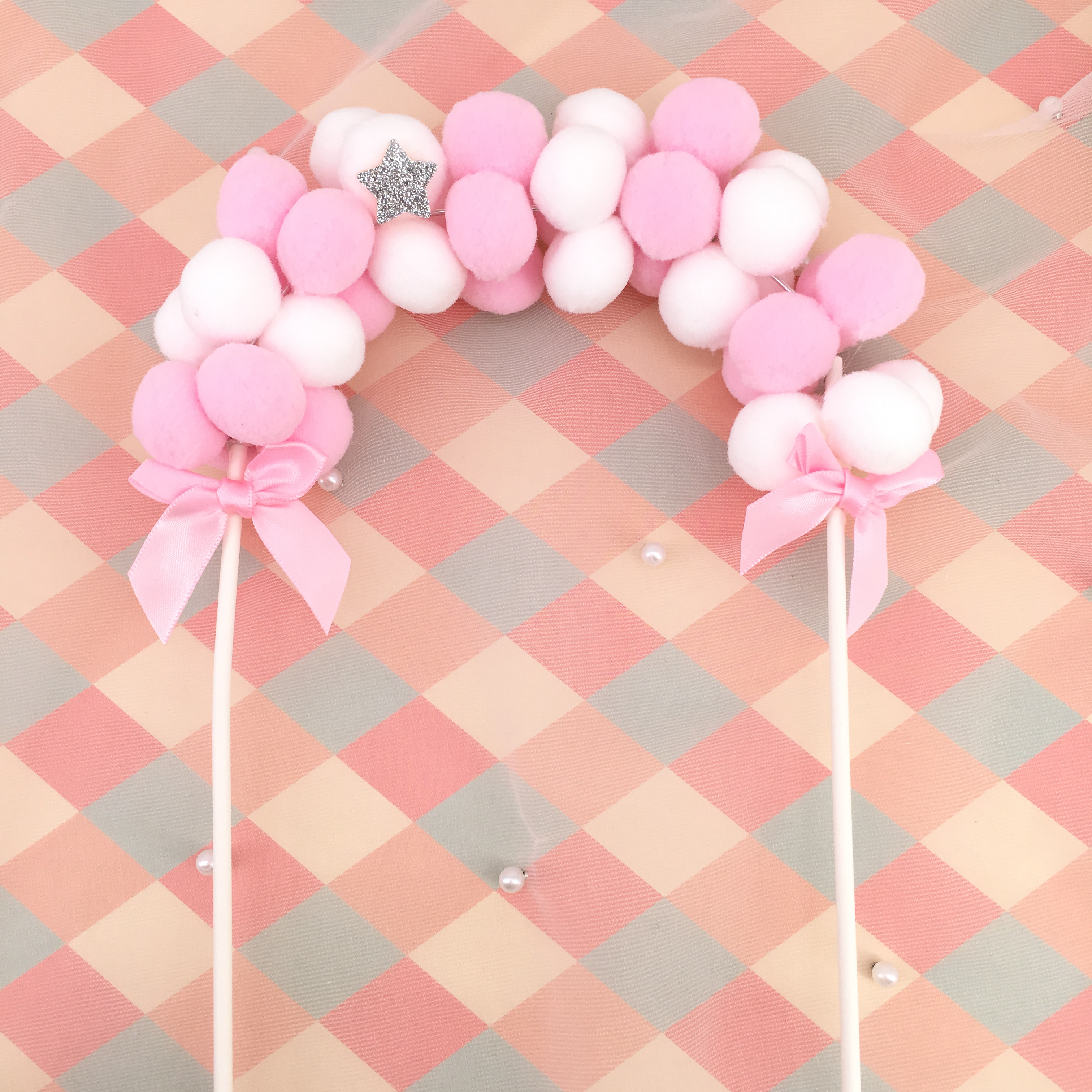 Party Supplies Birthday Flags Pompom Soft Cloud Cupcake Decor Cake Topper