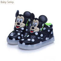 Children Luminous Shoes Glowing Sneakers For Boy Toddler Led Shoes Mickey Mouse Girls Led Usb Simulations