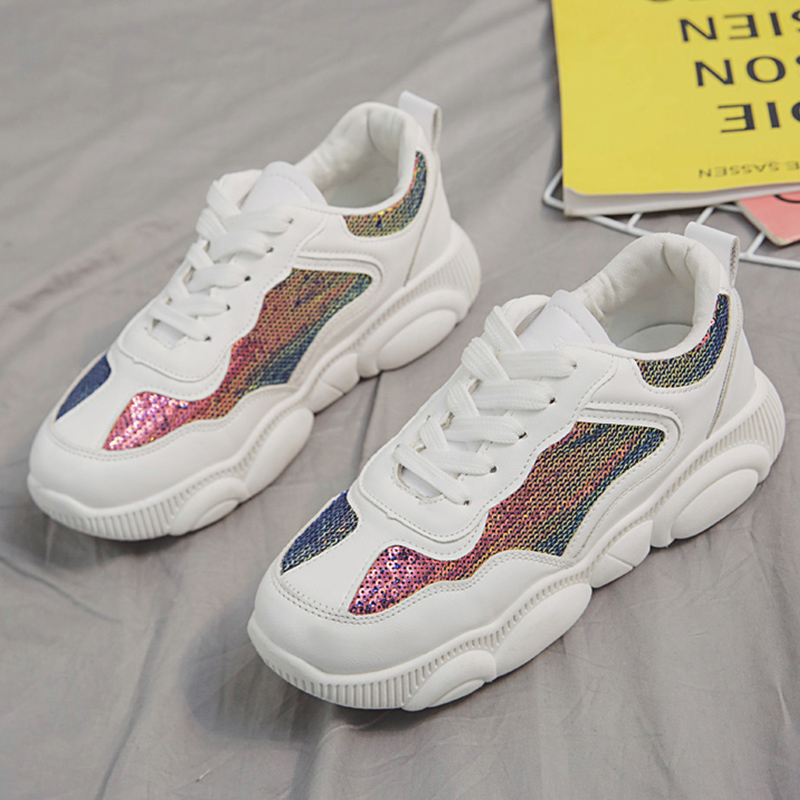7b6cb16e2c435 Designer 2019 Spring Shoes Women White Sneakers Cute Bear Bottom Female  Glitter Platform Sneakers Women femme