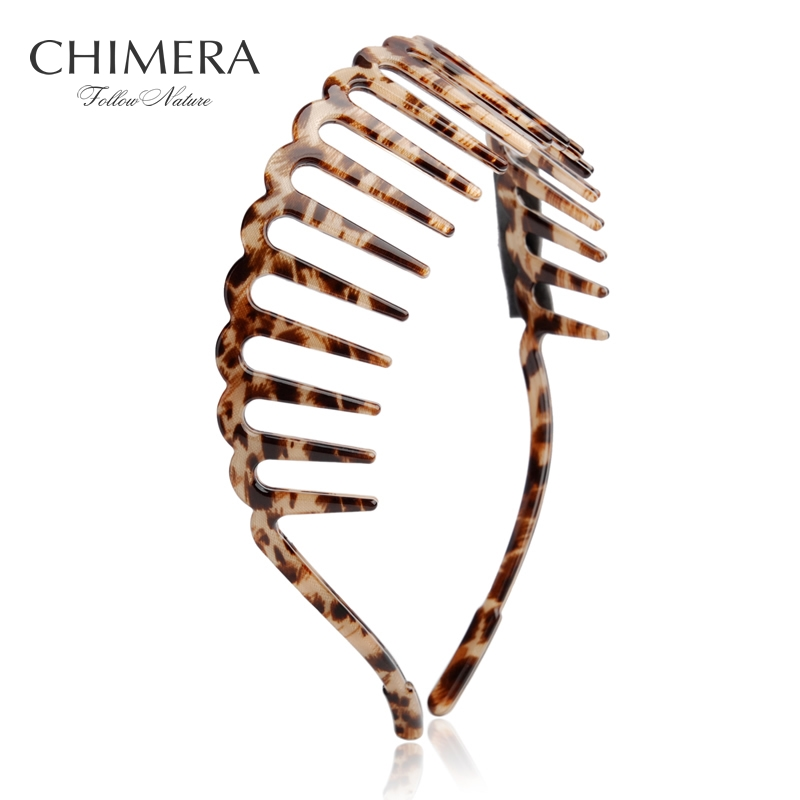 CHIMERA Women Hair Hoop Leopard Print Cellulose Acetate Teeth Comb Headband Simple Headwear Girls Hairband Fashion Accessories