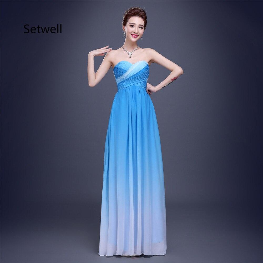Setwell Simple bleu clair en mousseline de soie robes de bal sans bretelles à lacets dos robe de bal de haute qualité robes de soirée 2017