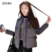 [Xitao] Новая осень в консервативном стиле женские для похудения виде молнии толстый полный обычные рукава стенд воротник хлопок и парки MHB-001