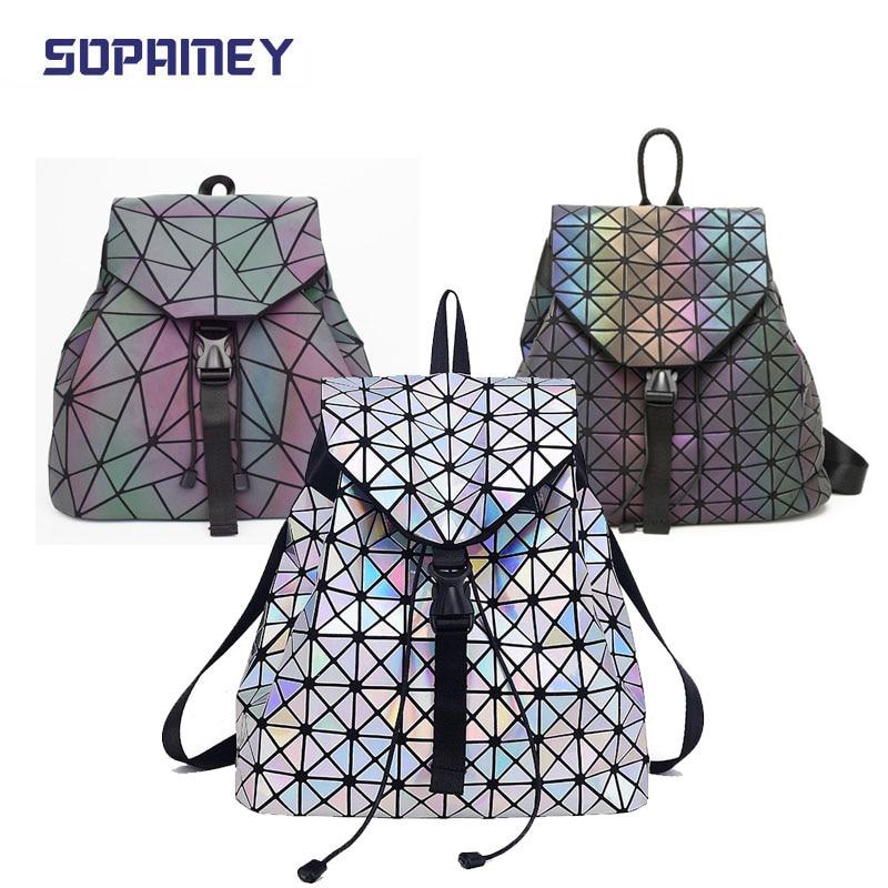 New Bao Bag Luminous Backpack Fashion Women Backpack Geometric Student's School Backpacks For Teenage Girl Hologram Bags Mochila