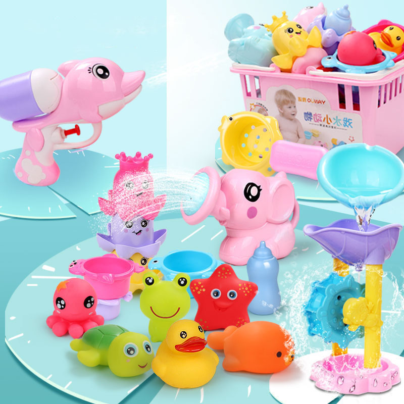 Baby Kids Bath Toys Baby Bathroom Toys Spray Water Small Turtle Shower Clockwork Toy Set Baby Boys Girls Bathing Toys 12 Sets