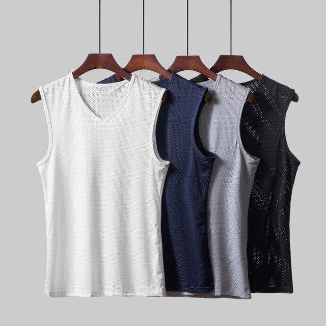 Men   Tank     Top   Breathable Mesh Vest Male Ice Silk V Neck Hollow Sleeveless Vest Wide Shoulder Waistcoat Fitness Slim Mesh