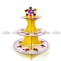 New Cartoon 3 Tier Paper Cupcake Stand Child Shower Birthday Party Display Tray Buffet Muffin Dessert