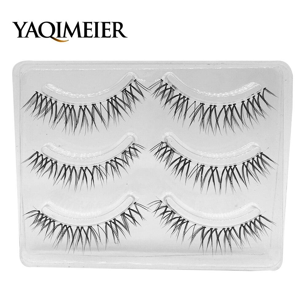 YAQIMEIER 3 Pairs/Set Natural Cross False Lashes Women New Handmade Artificial Eyelashes Cheap Makeup