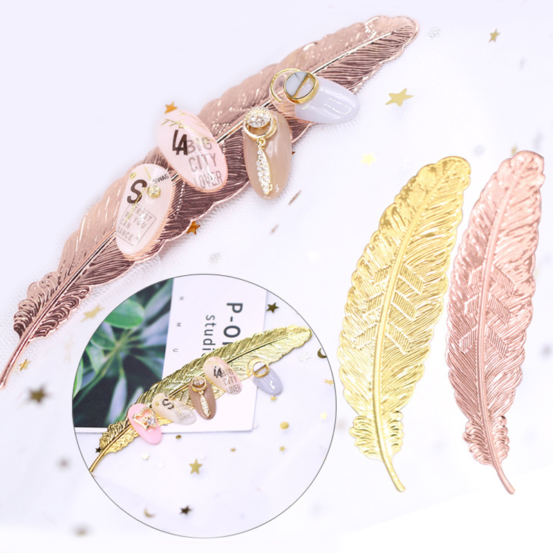 1pc Rose Gold Nail Tip Holder Feather Practice Training Display Stand Metal Manicure Salon DIY Nail Art Showing Tools