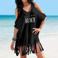 Off Shoulder Beach T shirt Dress with Tassels Black Beach Cover Up Cotton Women's Tunic White Beachwear Summer Top for Women