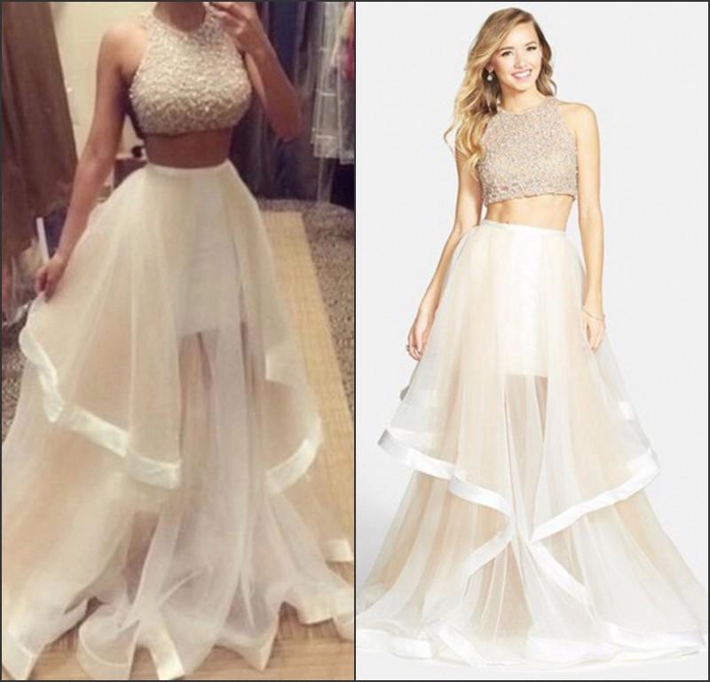 6f20ea82734 vestido de festa Two Pieces Prom Dresses 2015 Hot New Crew Neck Beads Glitz  Organza Ruffles Formal Party Dress Evening Gowns