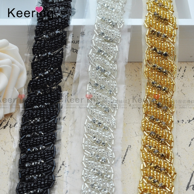 Keering Keering Fancy Beaded Rhinestone trimming WRA-162