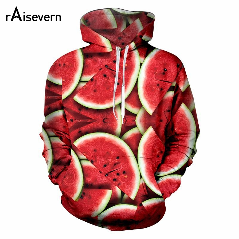 Raisevern New Watermelon Hoodies 3d Funny Fruit Print Men Women Unisex Streetwear 2019 Fashion Hoody Sweatshirts Dropship