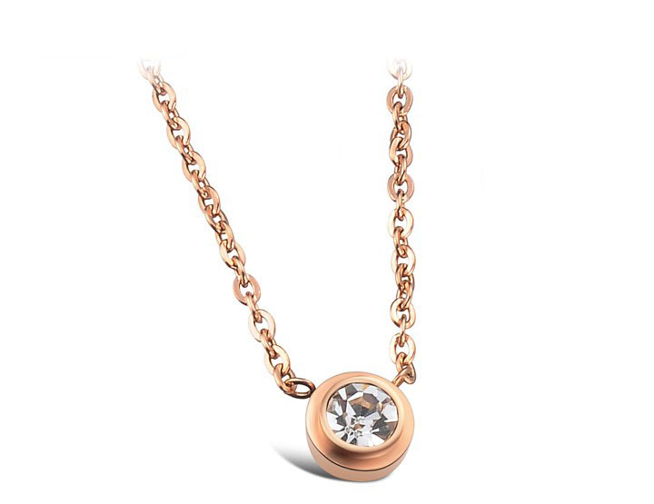 WholesaleRetail! Noble Stainless Steel Rose Gold color Crystal Pendant Neklace For Women, Lowest Price Best Qualityorf