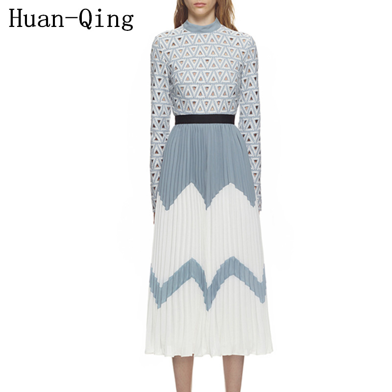 Self portrait Hollow out Lace Dress Runway Women Hit Color Patchwork Chiffon Pleated Dress Autumn Long