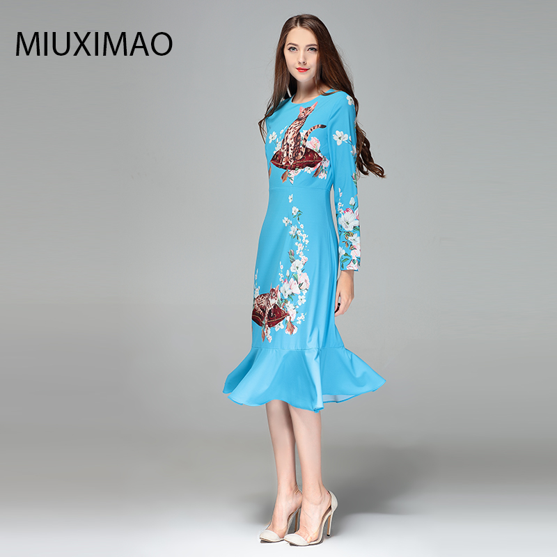 2018 High Quality Spring amp Fall Newest Cute Style Dress Long Sleeve V neck Elegant Trumpet Fishtail Cat Print Long Dress Women in Dresses from Women 39 s Clothing