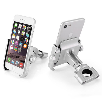 Metal Bike Bicycle Motorcycle Handlebar Mount Holder for 4-7 inch Mobile Phone 360 Degrees Rotation Fixed Shock-proof Holder