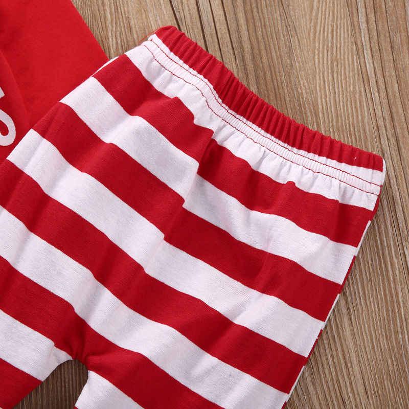 Bebé recién nacido niñas Mi primera Navidad moda de manga larga mono a rayas pantalones 2 uds trajes