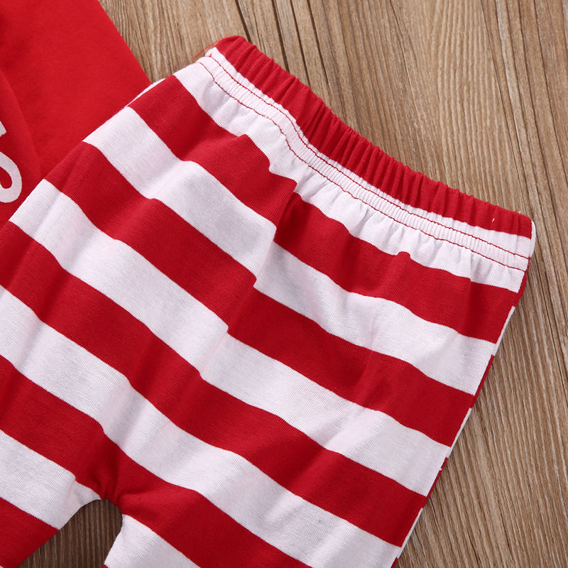 d25b88e8c4e Newborn Baby Girls MY First Christmas Fashion Long Sleeve Bodysuit Stripe  Pants 2Pcs Outfits-in Clothing Sets from Mother   Kids on Aliexpress.com