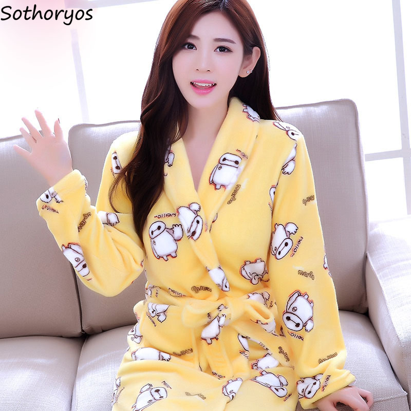 Image 3 - Robes Women Plus Size Print Flannel Korean Kawaii Long Sleeve Thicker Warm Nightwear Soft Bathrobe Womens Simple High Quality-in Robes from Underwear & Sleepwears