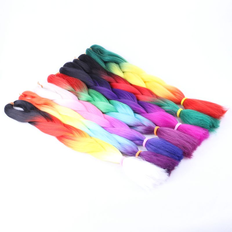 Luxury For Braiding 7pcs lot 100g pc 24 Ombre Yaki Braiding Hair Synthetic Jumbo Braids for