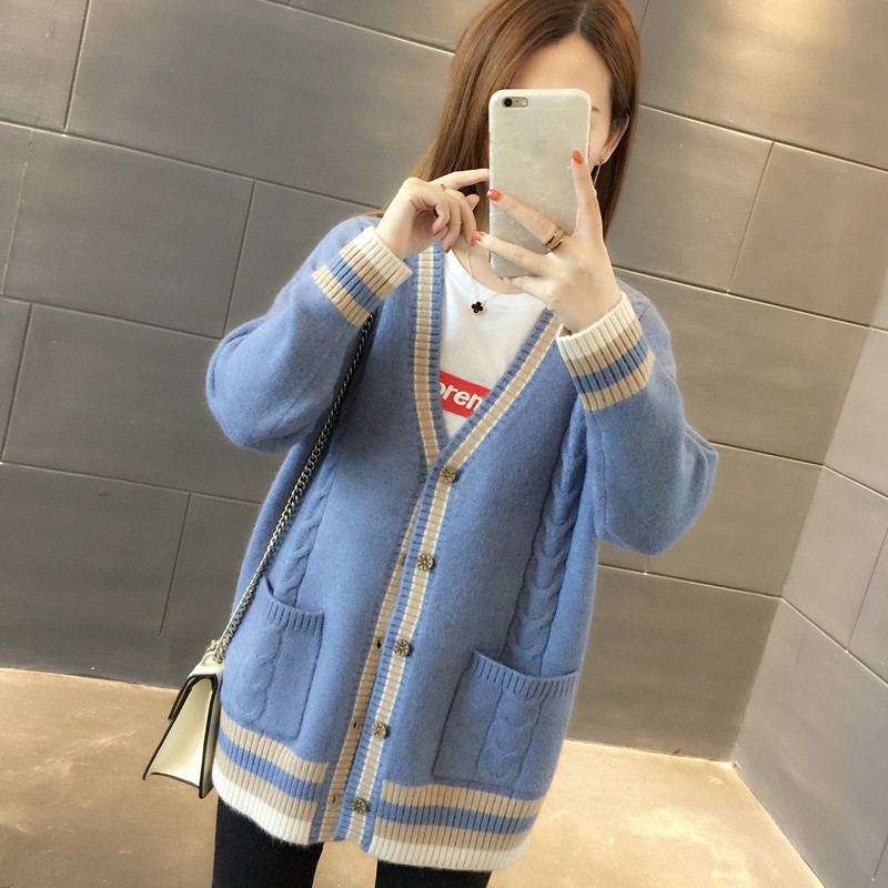 PEONFLY Striped Cardigan Women Knitted Sweaters Autumn Winter Coat V Neck Ladies Long Sleeve Elegant Sweater Loose Coat