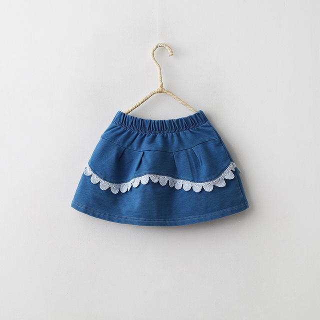 Cute Summer Lace Girls Denim Skirts Casual Patchwork Elastic Skirts Girls Clothes for 2-8Y babys