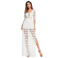 and summer of 2018 Europe and the United States sexy dress pure color v neck flowers hollow out the silk dress Free Shipping