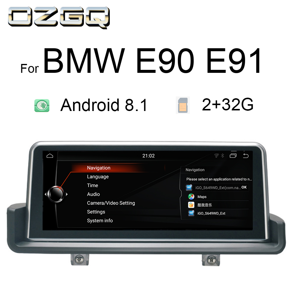 OZGQ 10.25 Inch Android 8.1 Car Multimedia Player GPS Navigation Stereo Headunit For 2005-2012 BMW E90 E91 E92 E93 With Idrive
