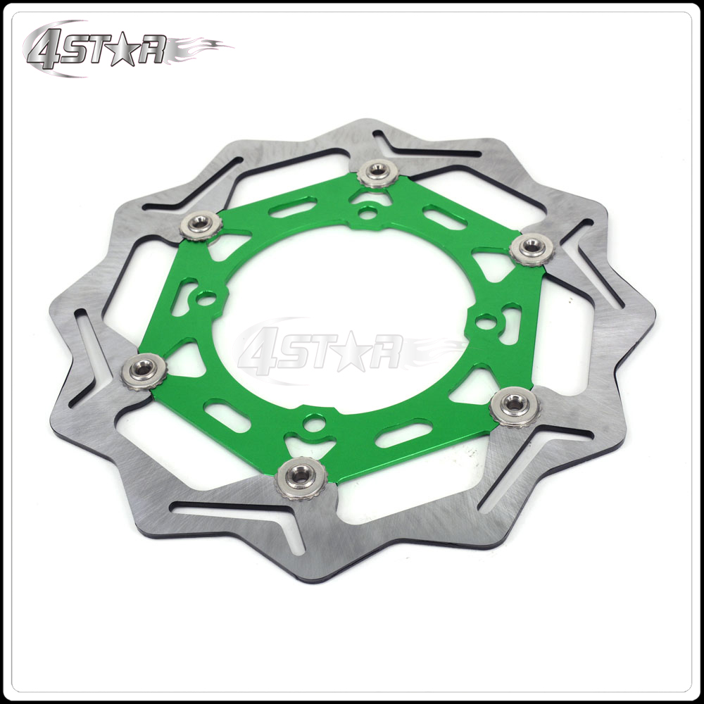 270MM Green Front Floating Brake Disc Rotor Adaptor For KX KXF KLX KX125 KX250 KX250F KX450F KLX450 Motorcycle Supermoto Motard cnc pivot foldable clutch brake lever for kawasaki kx125 kx250 kx 125 250 kx250f kx450f kxf 250 450 kd 200 220 kdx200 kdx220