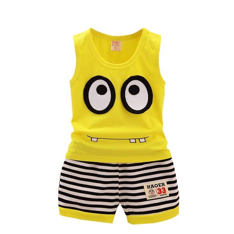 Hot Sales Summer Kid Clothes Set Baby Boys Girls Casual Cotton Cartoon Sleeveless Ves t+ Stripe Shorts Children Sport Suit Set