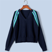 Tunjuefs Vintage Loose Sweater Women Pullovers Knit Tops 2019 New Spring Autumn Striped Jumper Runway Sweater Pull Femme