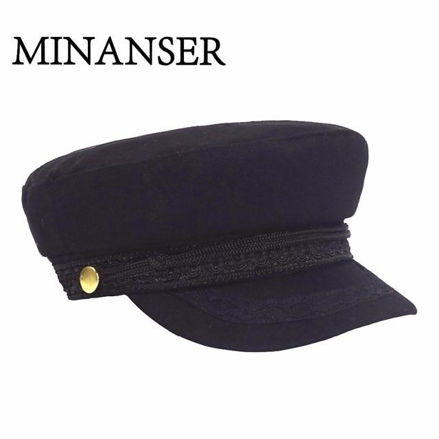 057121a596c MinanSer Military Hat Winter Knitted Cap Vintage Flat Top For Women Baker  Boy Hat Cadet for