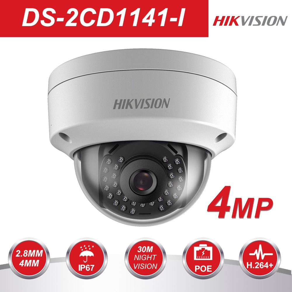 Hikvision Full-HD 1080 p de Sécurité IP Caméra DS-2CD1141-I 4 Mégapixels CMOS CCTV Caméra Dôme PoE Remplacer DS-2CD3145F-I