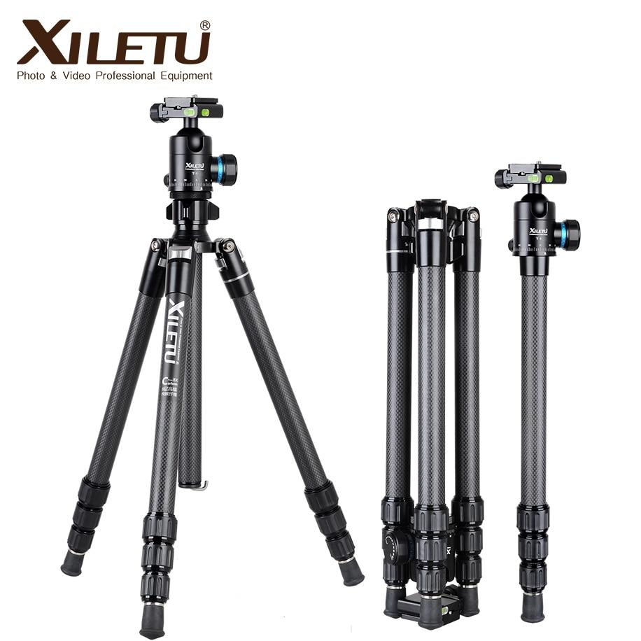 XILETU XT-264C + T-1 professionnel en fiber de carbone arca swiss trépied pour appareil photo et trépied panorama rotule UNC 1/4 et 3/8 vis