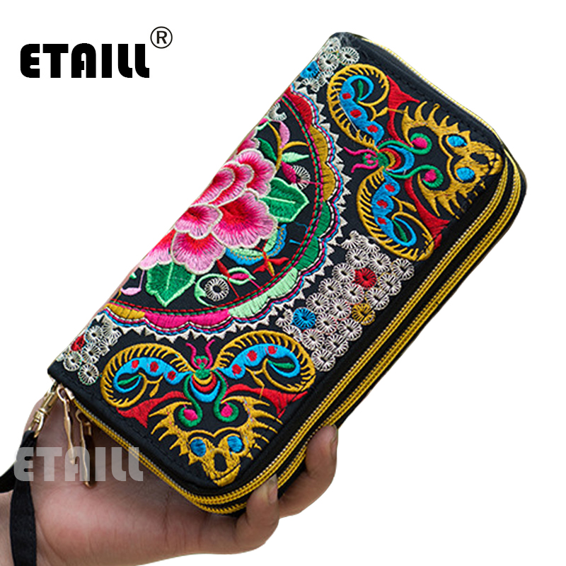 2016 Hmong Handmade Ethnic Flowers Embroidered Women Long Wallet Day Clutch Purse Famous Brand Logo Wallet Women Sac a Dos Femme