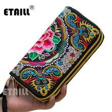 2016 Hmong Handmade Ethnic Flowers Embroidered Women Long Wallet Day Clutch Purse Famous Brand Logo Wallet Women Sac a Dos Femme
