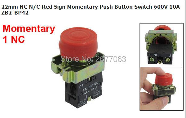 22mm NC N/C Red Sign Momentary Push Button Switch 600V 10A ZB2-BP42