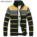 HEE GRAND Men's Fashion Style Sweater Cardigan 2017 New Arrival Full Sleeve Striped Stand Collar Autumn Overcoat MWK127