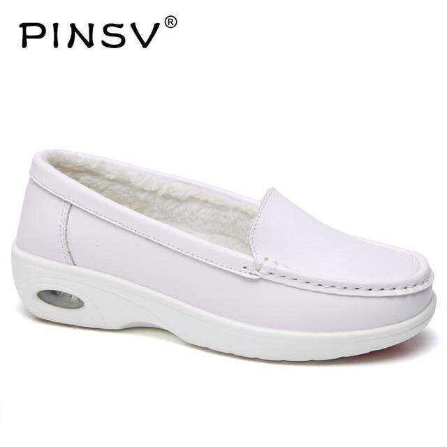 Зимние сапоги на платформе женские лоферы женские плюшевые туфли для медсестры Женские Слипоны для Для женщин кроссовки Размер 35–40 PINSV